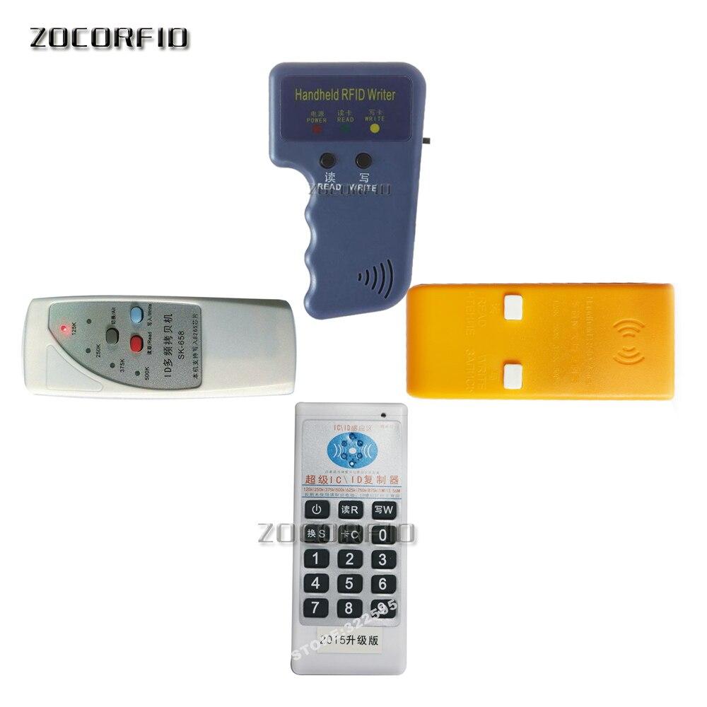 Venta al por mayor, lector de tarjetas Rfid portátil, copiadora/duplicadora RFID para tarjeta de control de acceso Lector de fotocopiadora de tarjetas RFID NFC, duplicador inglés, programador de frecuencia 10 para tarjetas de ID IC y todas las tarjetas 125kHz + 5 uds. ID 125k