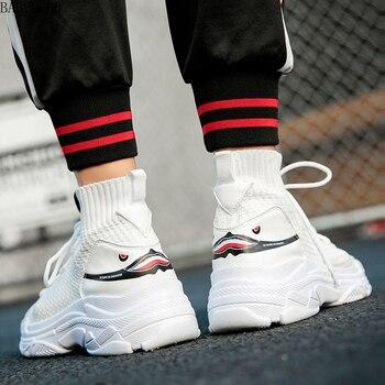 2019 invierno ins Super Fire Shoes masculino coreano tendencia calcetines Torre deportes ocio aumenta Joker zapatillas de deporte para hombres blancos