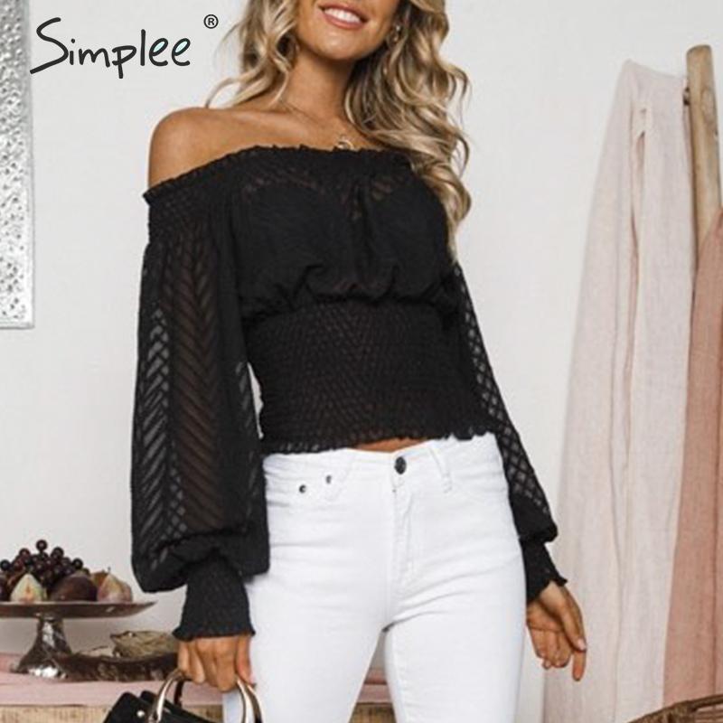 Simplee Sexy Off Shoulder Chiffon Blouse Shirt Women Ruffles Long Sleeve Female Female Tops Blusa Elastic Autumn Ladies Blouses