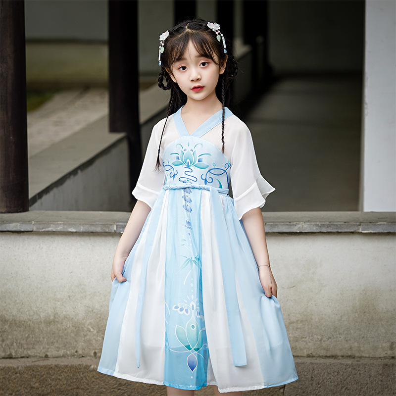 Chinese Traditional And Ancient Dress Girls Fairy Chiffon Blue Hanfu Children'S Day Catwalk Show Performance Costumes DQL2396