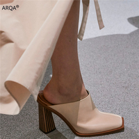 2020 Spring Summer New Women Mules Fashion Genuine Leather Thick High Heels Slides Square Toe Slip On Slingback Slippers Shoes