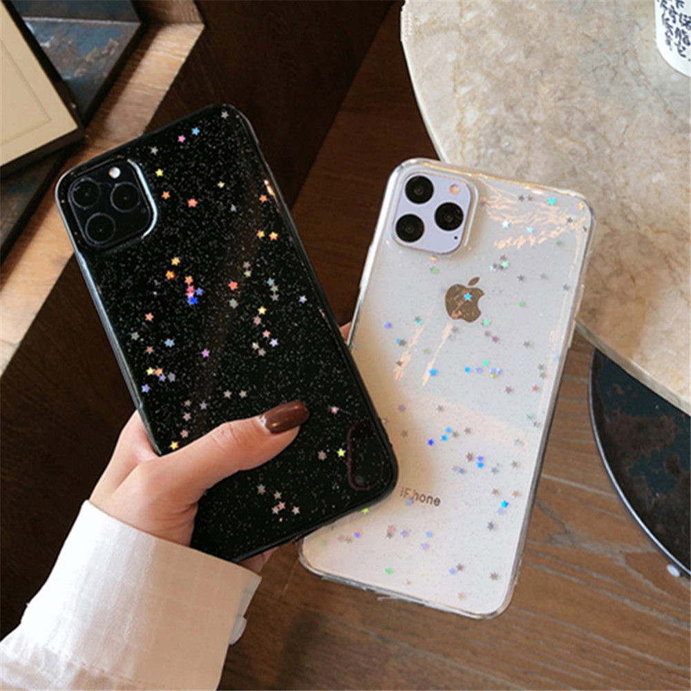 H2707576fe11a4790be0caa05f9a9bd223 - Ottwn Bling Stars Glitter Soft TPU Phone Case For iPhone 11 Pro X XR XS Max 7 8 6 6s Plus SE 2020 Transparent Powder Back Cover