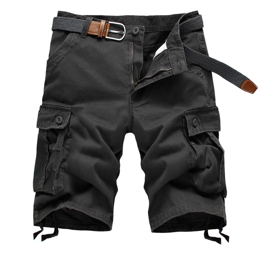 Summer Cargo Shorts Men Baggy Multi Pocket Military Zipper Beach Shorts Breeches Male Army Green Khaki Tactical Shorts(No Belt)