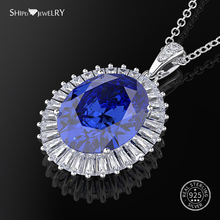 Shipei 100% 925 Sterling Silver Fine Jewelry White Gold Pink Sapphire Oval Pendant Necklace for Women Anniversary Gift