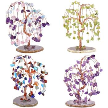 TUMBEELLUWA Healing Crystal Money Tree Tumbled Stone Ornaments with Agate Slice Base , Wealth Lucky Feng Shui Home Office Decor