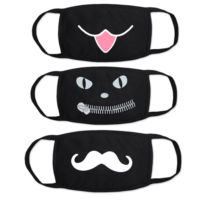 Funny Face Mask for Adult Children Cartoon Dustproof Cotton Face Mouth Masks Anime Bear Kawaii Kpop Winter Warm Skull Mask 3