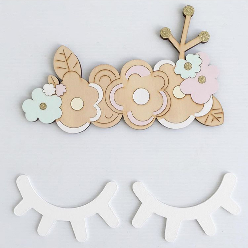 1pair Cartoon 3D Wood Wall Sticker DIY Lovely Eyelash Closed Eye Wall Decal Home Decor Kids Baby Room Decoration dřevěné dekorace do dětského pokoje