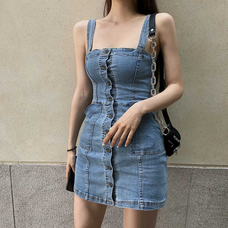 Denim Jurk Zomer Spaghetti Zonnejurk Vintage Casual Solid Retro Chic Sexy Jeans Knop Front Blue Party Jurk Vrouwen 2019