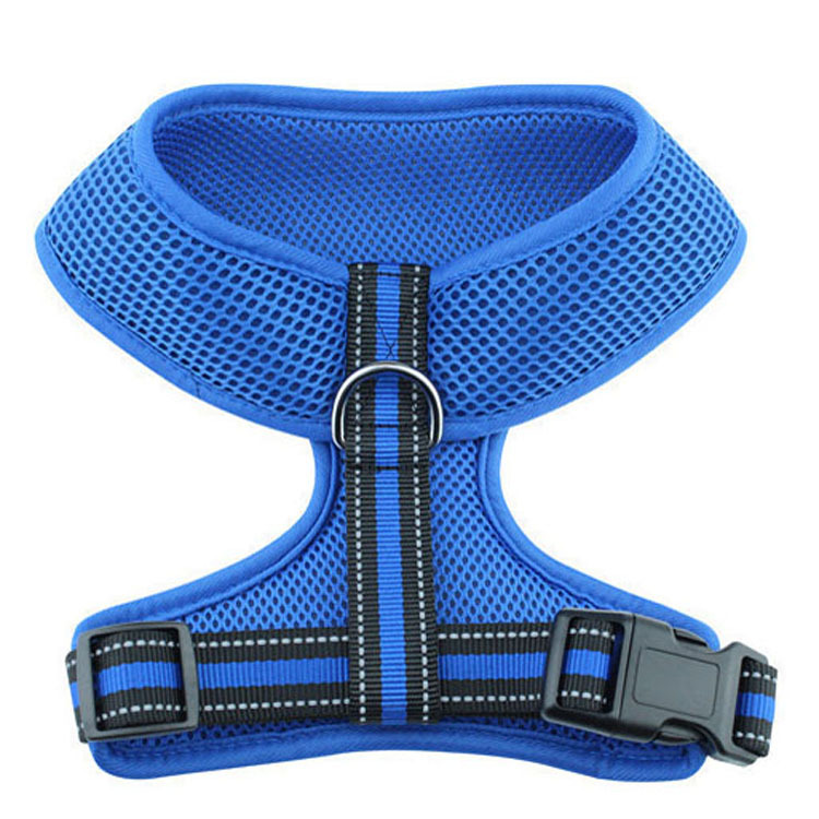 Breathable Not Sultry Sky Blue Outdoor Walk Anti-Lost Dog H-shaped Traction Chest And Back Dog Traction Rope Processing