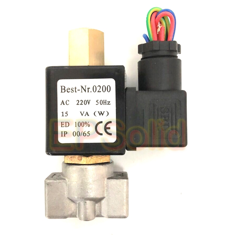 "Free Shipping VX2120-08-SS-NO 1/4"" Normally Open Stainless Steel 2 Way Oil Acid Solenoid Valve AC220V"