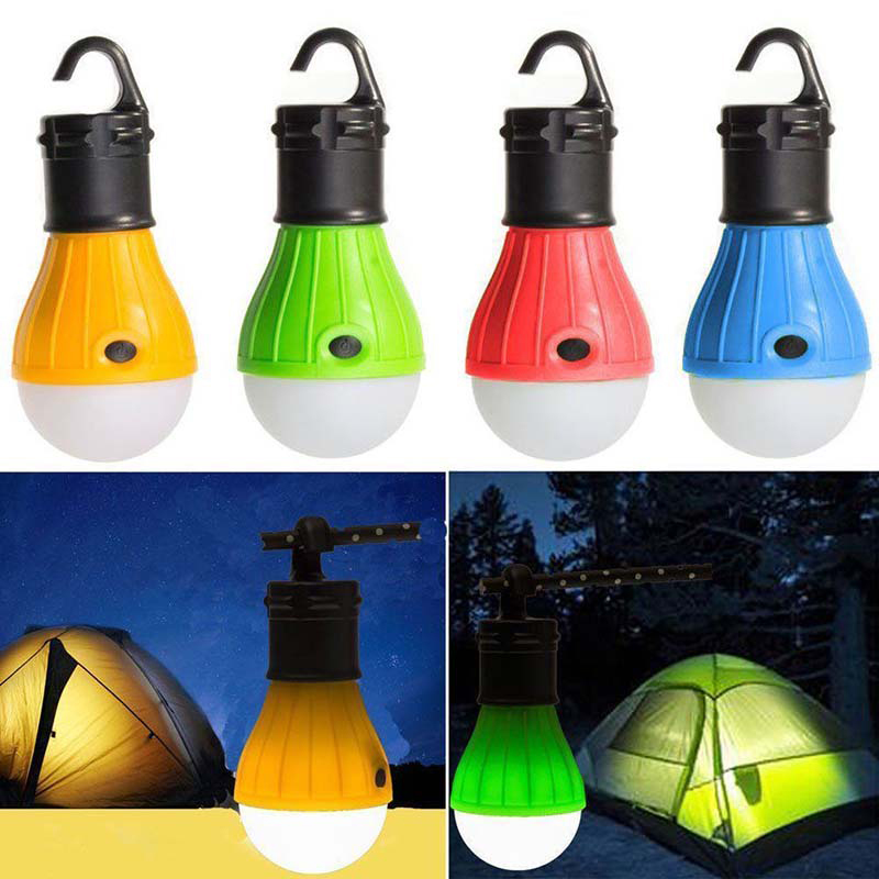 1PC Camping Lights LED Bulb Battery Powered Tent Light Hook Flashlight Tent Light Bulb 5 Colors Hanging Lamp Portable Lantern