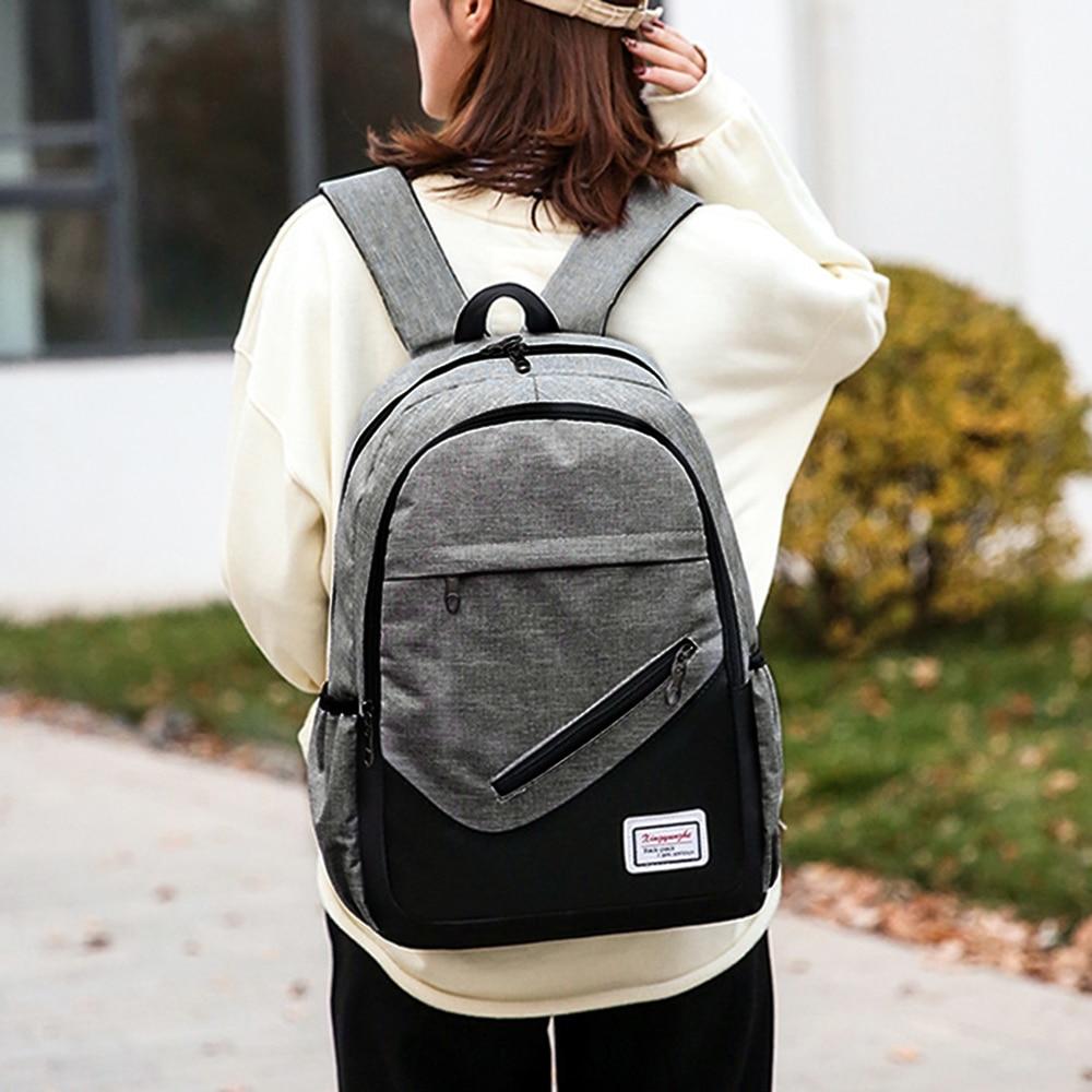 LOOZYKIT USB Charging Canvas Backpack 3 Pcs/set Women School Backpacks Schoolbag For Teenagers Man Student Book Bag Boys Satchel