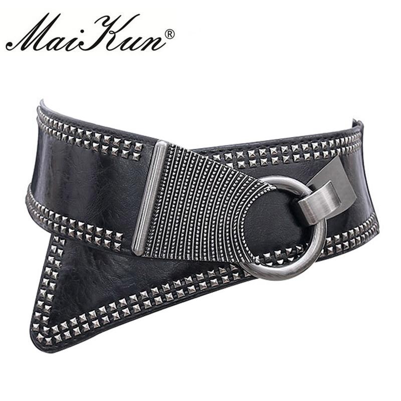 Christmas 2020 Maikun Fashion Punk Rocker Wide Belts for Women Elastic Wide European Style Women Belts Metal Round Buckle