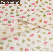 Lovely leaf designs 100% cotton light yellow fabric plain sewing