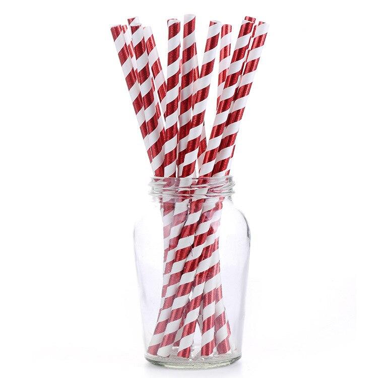 Yiwu Acic Qian 2019 Manufacturers Customizable Logo Brand Disposable Straws Bronze Stripes Straw America FDA