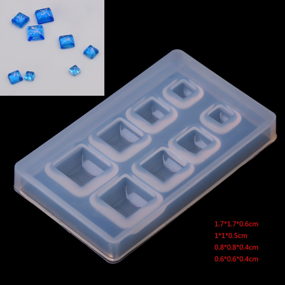 1PC Cube Silicone Mold Necklace Pendant Resin Jewelry Making Mould DIY Craft Multi-size Square Patch