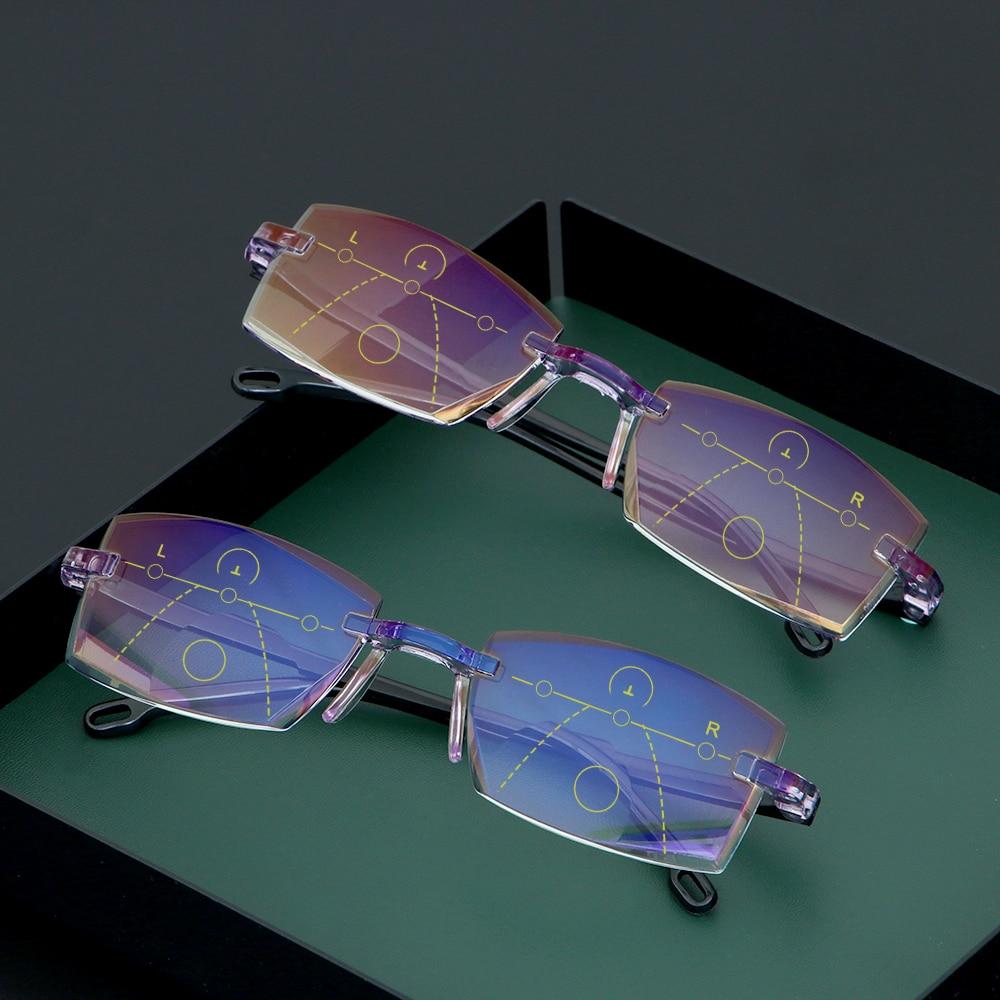 +1.0~+4.0 Ultralight Rimless Reading Glasses Progressive Multifocal Presbyopia Eyeglasses Blue Light Blocking Computer Goggles