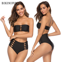 New Sexy Strapless Bikini Set Women Bow Knot Hollow Swimsuit Solid Black Swimwear S-XL Girl High Waist Backless Bathing Suit black hollow bikini set swimwear