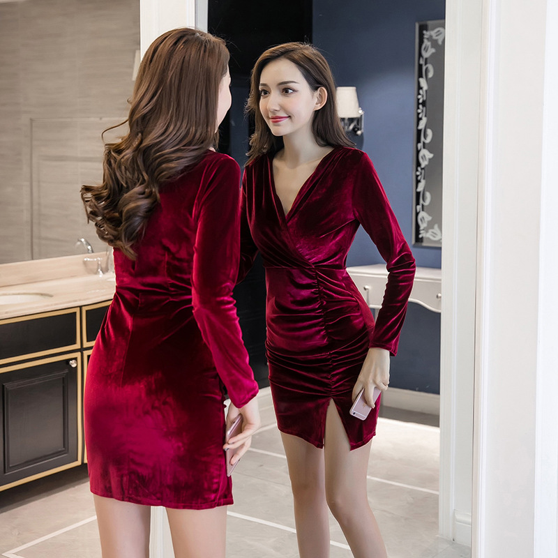 2019 Autumn And Winter New Style Sexy V-neck Gold Velvet Feminine Long-sleeved Dress Elegant Waist Hugging Slit Long Skirts