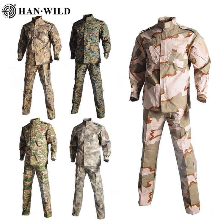 한 야생 1 캠핑 유니폼 위장 복 Tatico 전술 군사 재킷 + 바지 위장 Airsoft 페인트 볼 헝겊 Traje Militar