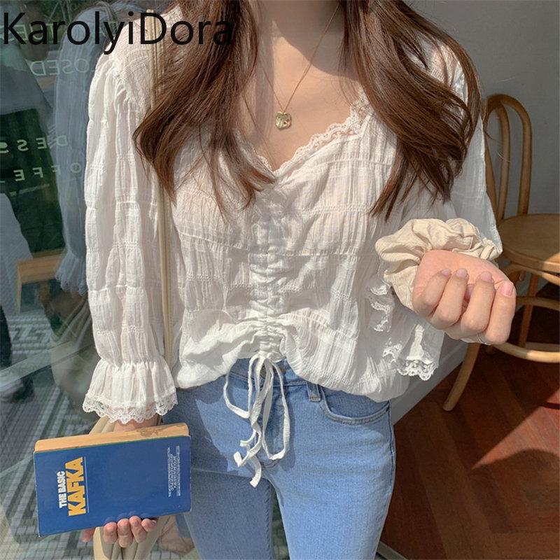 Cute Chic Fresh V-Neck Drawstring White 2019 Sweet Flare Sleeves Ruffles Simple High Quality Lace Short Shirts