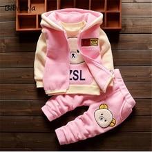 BibiCola baby clothing sets children cartoon bear winter cotton fleece wool suit warm thicken 3 pcs set baby boys girls set