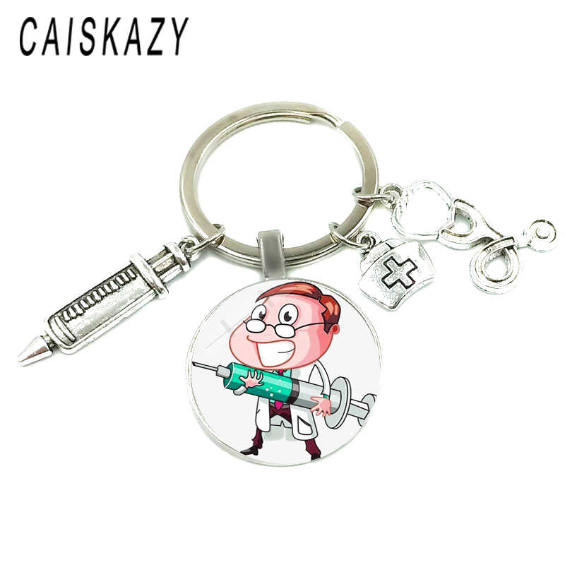 Creative חמוד מזרק רפואי סטטוסקופ קרושון זכוכית כיפת Keychain יפה מתנה עבור אחות ורופא