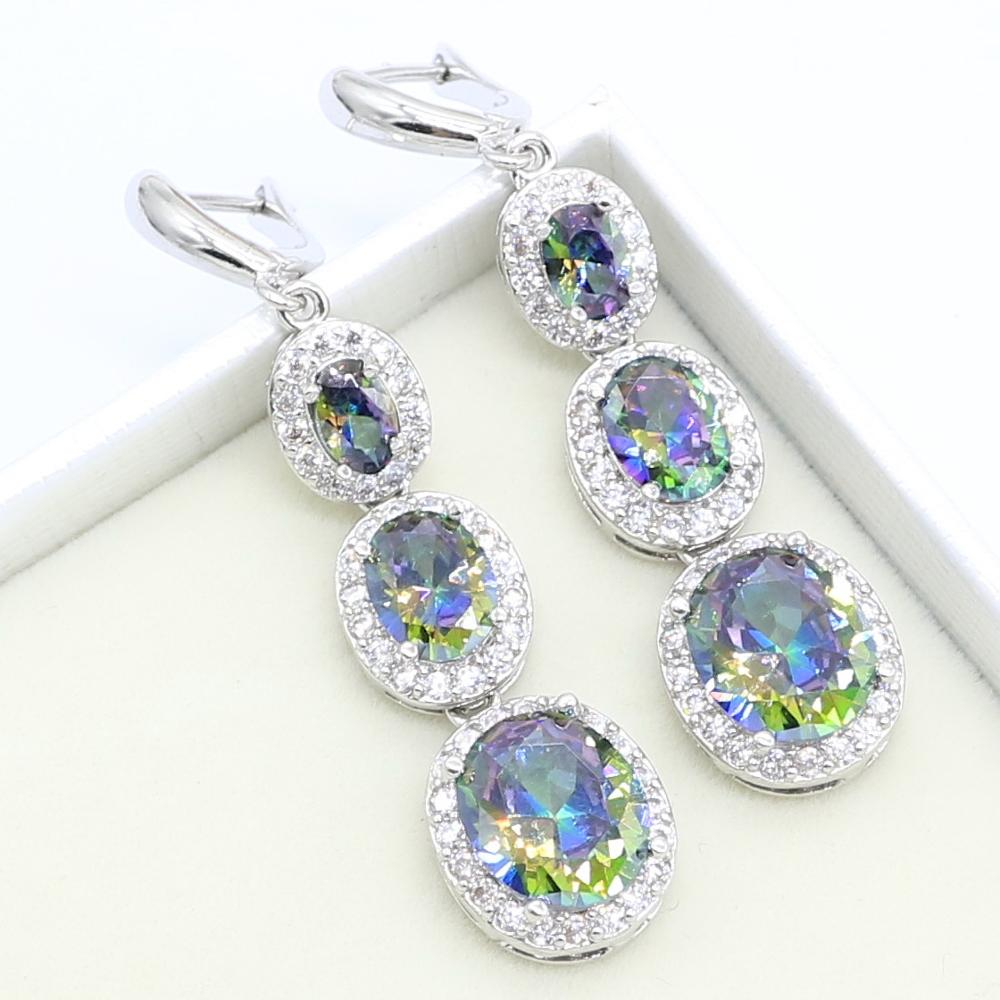 Rainbow Sky Blue Topaz 925 Silver Earrings for Women Birthday Party Jewelry Free Gift