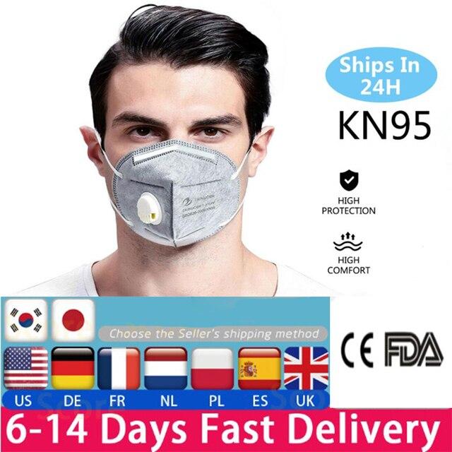 10pcs KN95 Valve Mask 5 Layer Flu Anti Infection N95 Protective Masks ffp2 Respirator PM2.5 Safety Same As KF94 FFP3