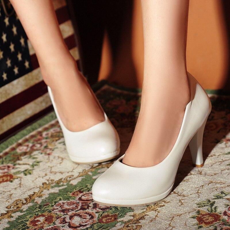 Ev ve Bahçe'ten Ayakkabı Rafları ve Organizatörleri'de Büyük boy yüksek topuk moda sivri tek ayakkabı bahar moda kore tarzı kadın ayakkabı yeni stil ayakkabı title=
