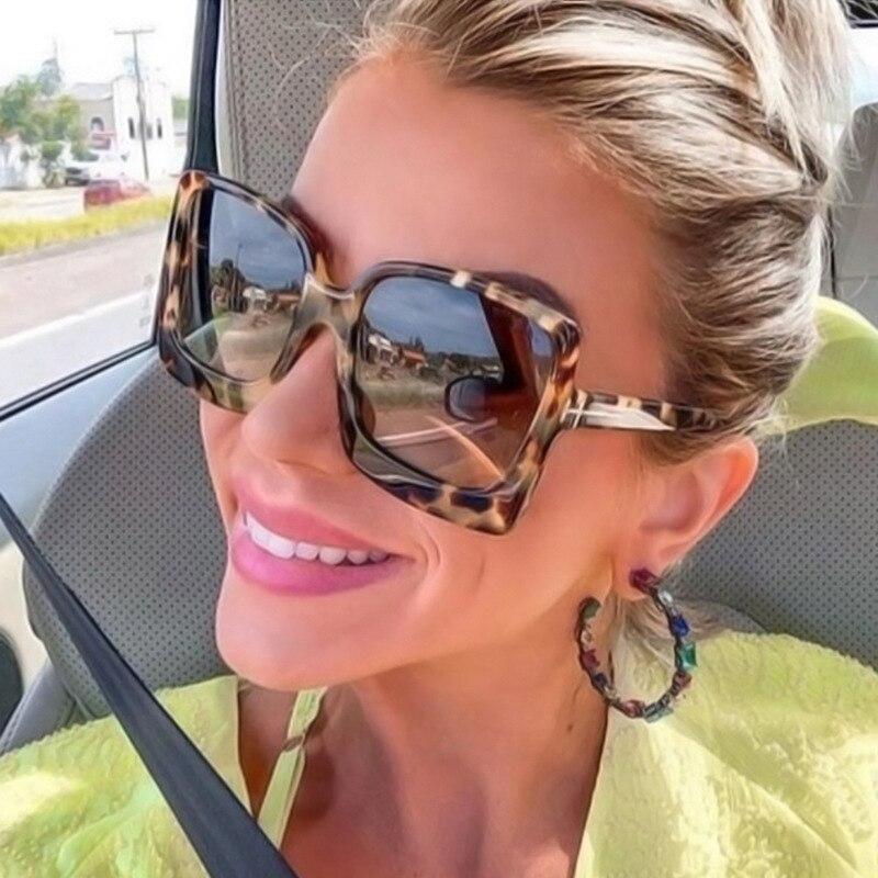 Fashion Oversized Women Sunglasses Brand Designer Plastic Female Big Frame Gradient Sun Glasses