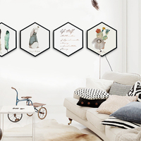 Lucky gift Hexagon Canvas Painting Posters and Prints Oil Painting Wall Art Canvas Framed Home Decor Hallway Bedroom Picture