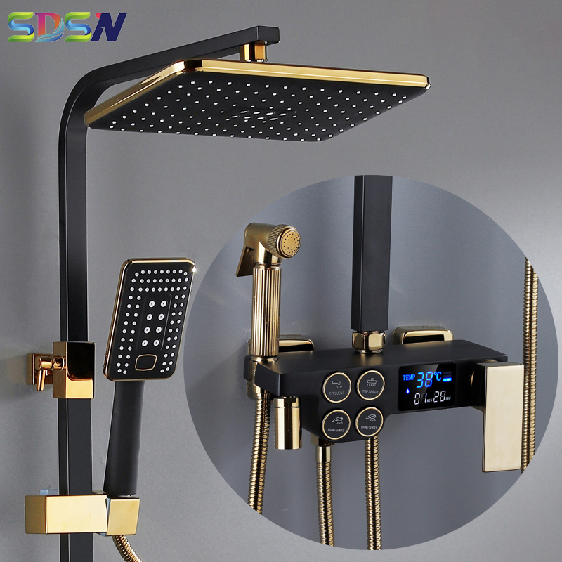 Hot and Cold Digital Shower Set Faucet Bathroom Shower System Black Gold Shower Faucet Square Shower Head  Bath Shower System