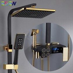 Quente e fria conjunto de chuveiro digital torneira do banheiro sistema de chuveiro ouro preto torneira do chuveiro quadrado cabeça de chuveiro banho sistema