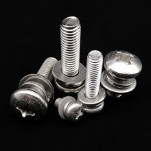 M1.6 M2 M2.5 M3 M4 M5 M6 M8 304 Stainless Steel Cross Round Phillips Pan Head SEM Screw Bolt With Flat Spring Washer Combination