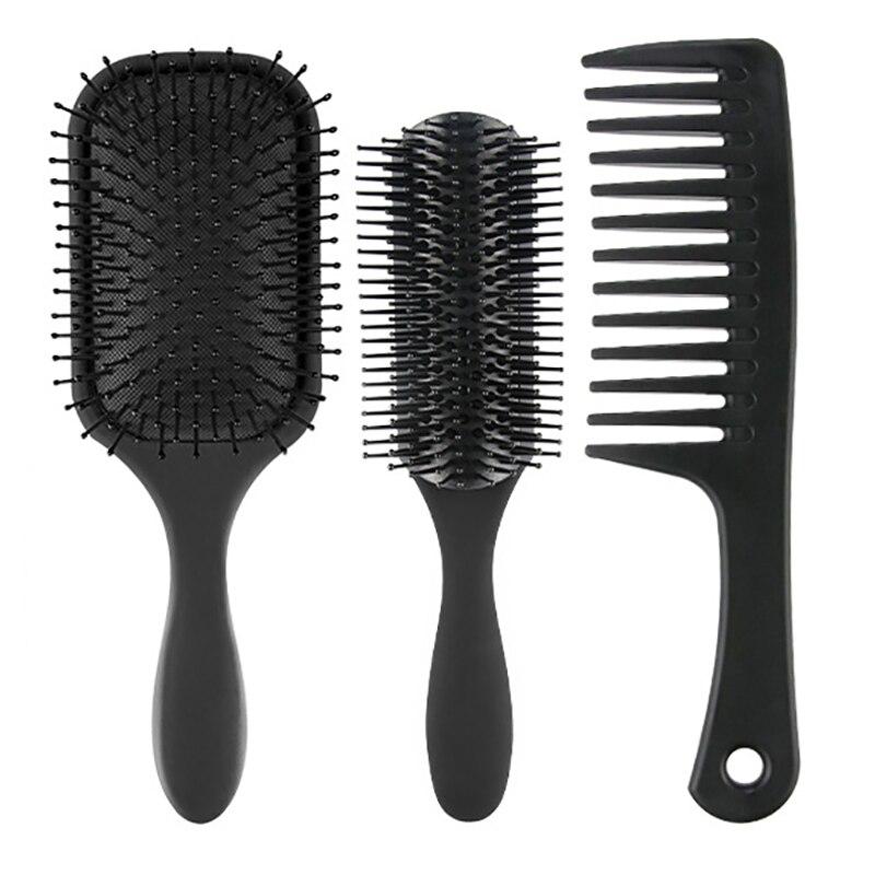 3 pcs pa escova de cabelo desembaracar escova e pente de cabelo conjunto para homem e