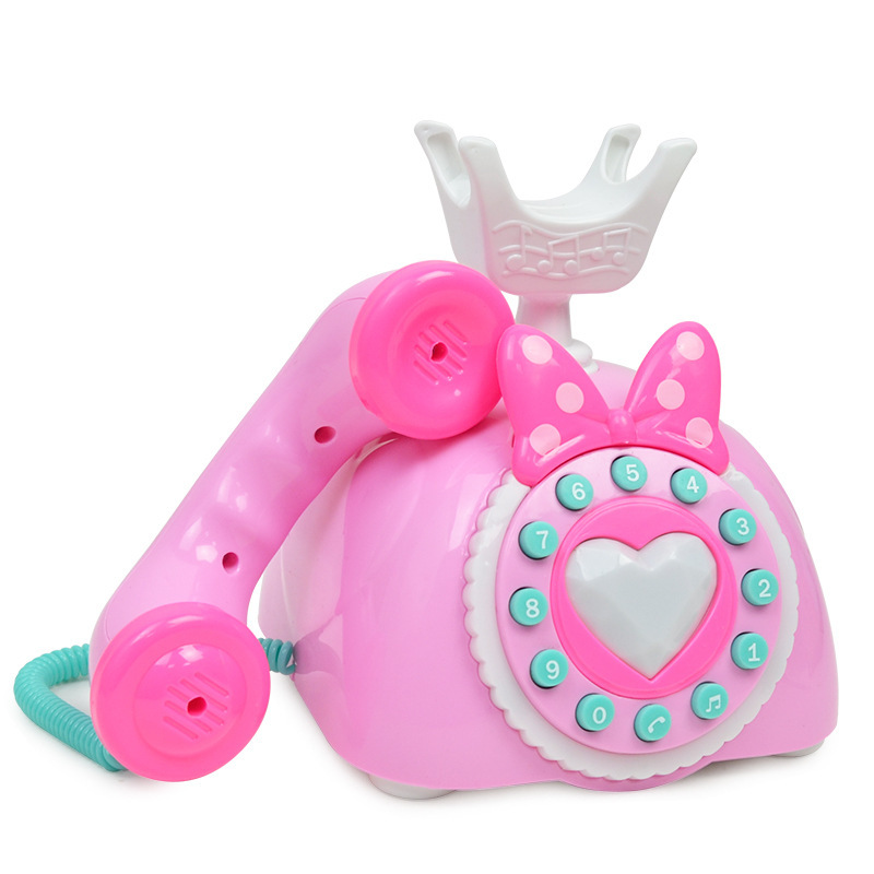 Baby Model CHILDREN'S Toy Retro Telephone Light And Sound Cartoon Early Childhood Educational Vintage Fixed Phone 2-3-4