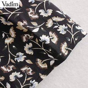 Image 4 - Vadim women elegant floral print midi dress long sleeve female casual straight style loose dresses stylish vestidos mujer QC955