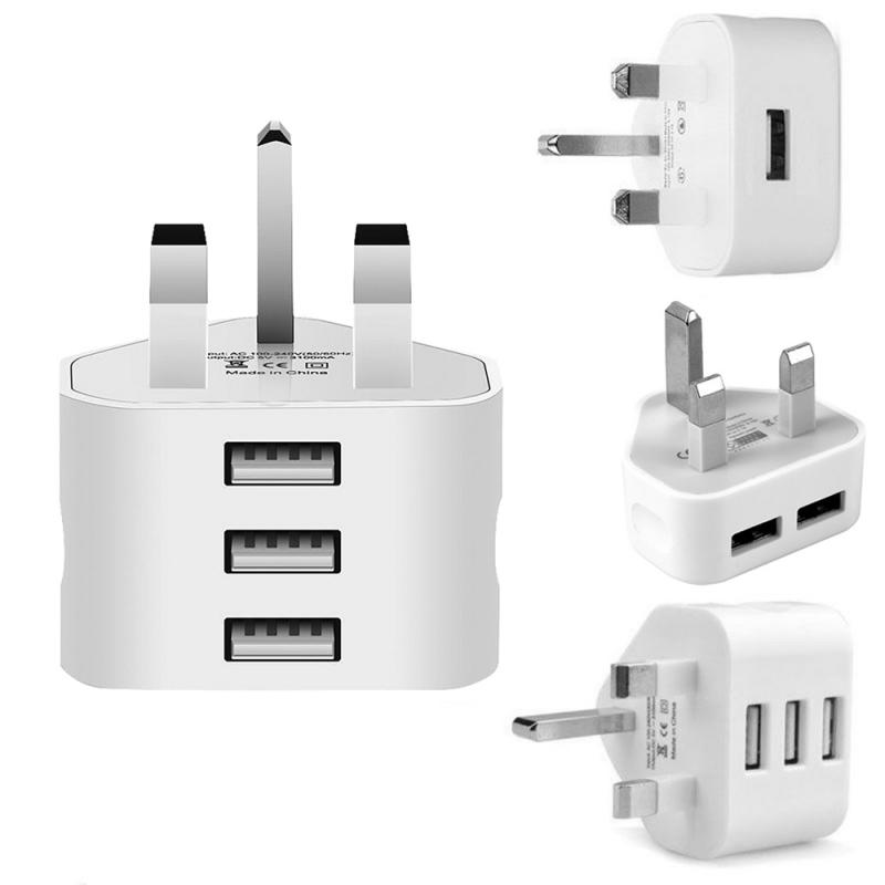 3 Pin Plug For All Mobile Phone /Tablet Charger With UK Plug White 3 Ports USB Travel Charging Mains Wall AC Multi Power Adapter