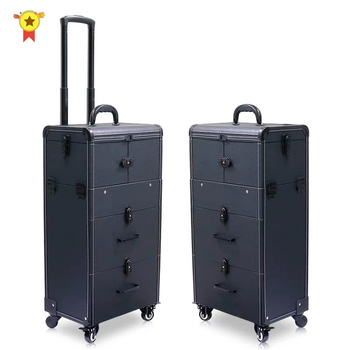 2020 wózek kosmetyczka torby walizka na kosmetyczka kobiety wielowarstwowy pojemnik na bagaże o dużej pojemności z kółkami tanie i dobre opinie LEINASEN CN (pochodzenie) 10 kg 76 cm Bagażu hardside 24 cm Spinner 37 cm KX23 Unisex suitcase suitcase on wheels travel suitcase with wheels