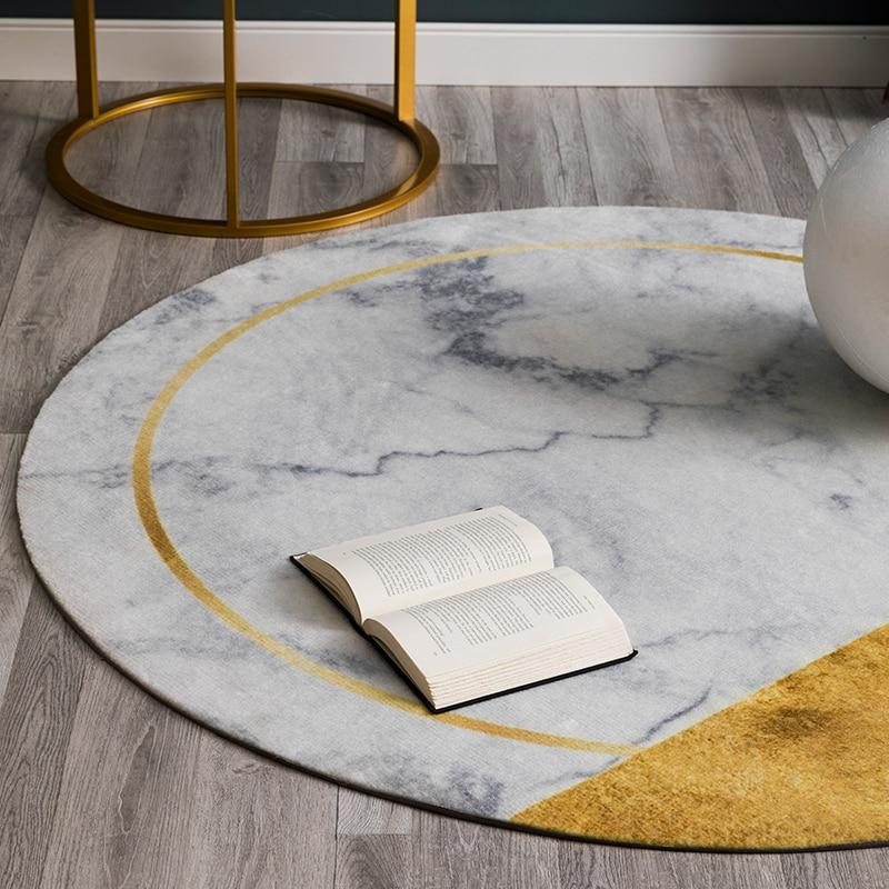 Villa licht luxus wohnzimmer runde teppich familie gold tee tisch teppich einfache stein druck dicken stuhl matte - 3