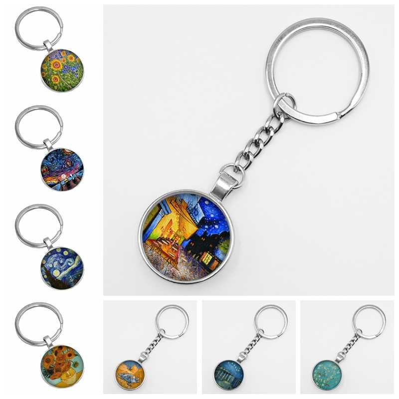 2019 Hot Van Gogh's Art Painting Glass Cabochon Keychain Fashion Accessories Men and Women Models A Variety of Classic Patterns