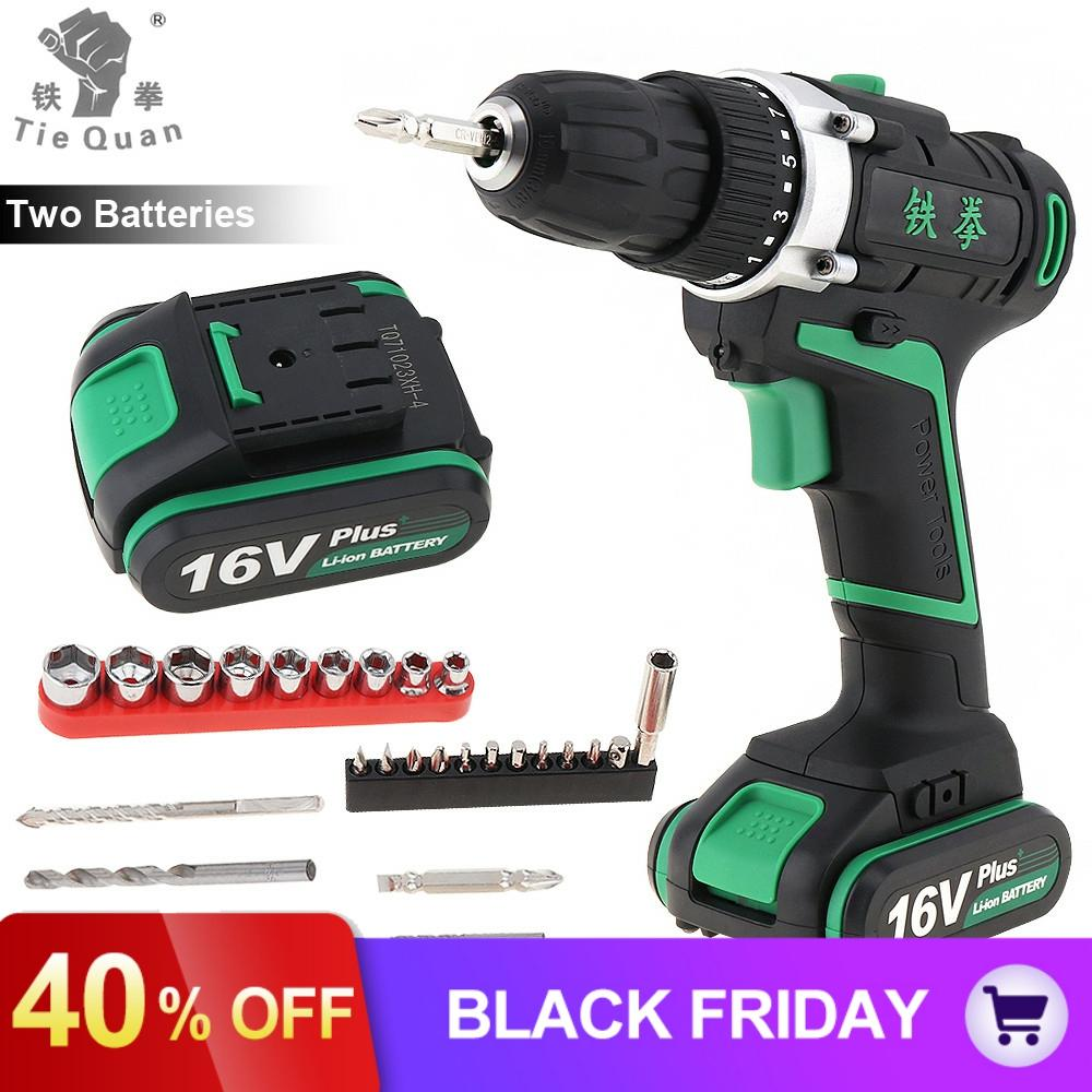 Cordless Rechargeable Mini <font><b>16V</b></font> Plus Electric Drill Screwdriver Power Tools with 2 Lithium <font><b>Battery</b></font> and 29pcs Accessories Set image