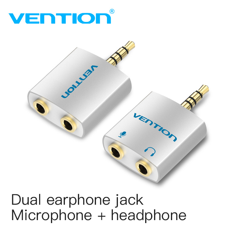 Vention 3.5mm Earphone Audio Splitter Connecter Adapter with mic 1 Male to 2 Female Audio Adapter For Headphone PC Mobile Phone(China)