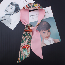 Letter Floral Skinny Scarf 2019 New Brand Silk Scarf For Wom