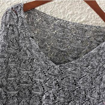 Women's Hollow Out Bat Long Sleeve Loose V Collar Sweater jersey mujer свитер женский new sweater for women 2019 джемпер женский 6