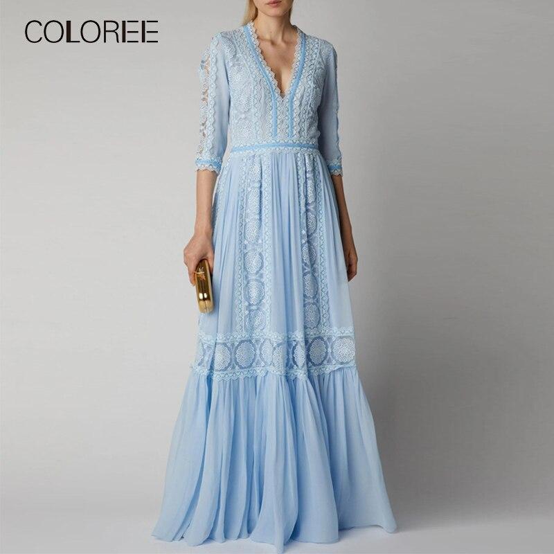 Élégant bleu évider dentelle longue robe de soirée femmes été col en v demi manches en mousseline de soie Patchwork plissé Maxi robe robe de piste