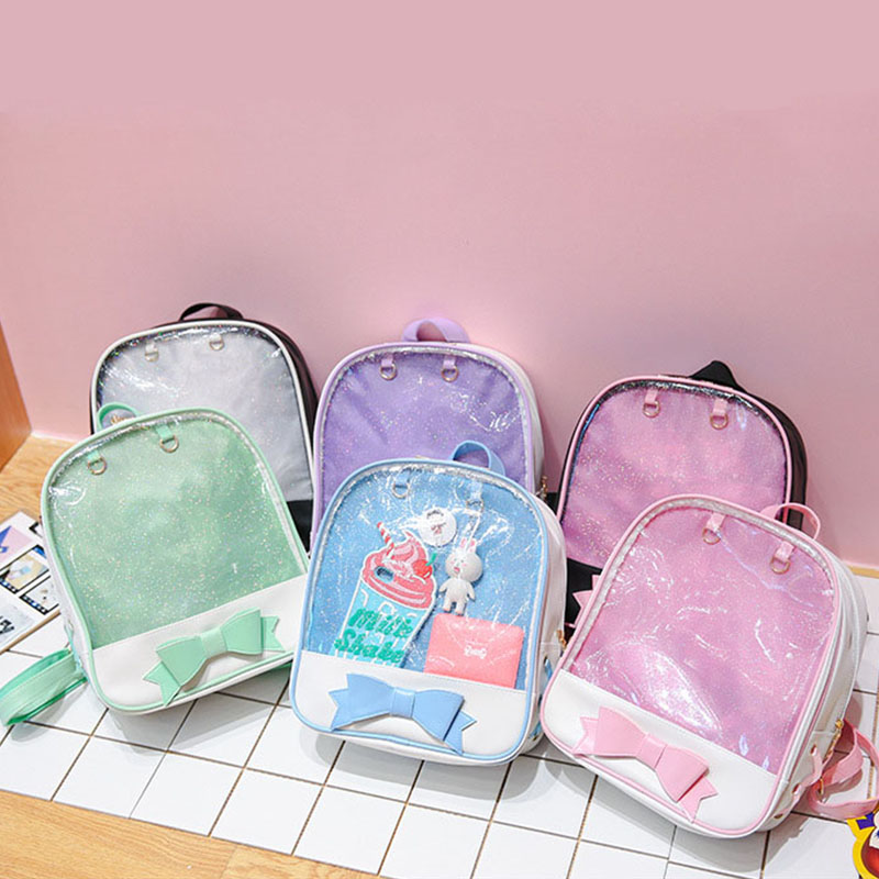 2019 Women Transparent Backpack Cute Bow Clear Ita Bags Mini Pink Black Schoolbags For Teenage Girls Female Fashion Bookbag