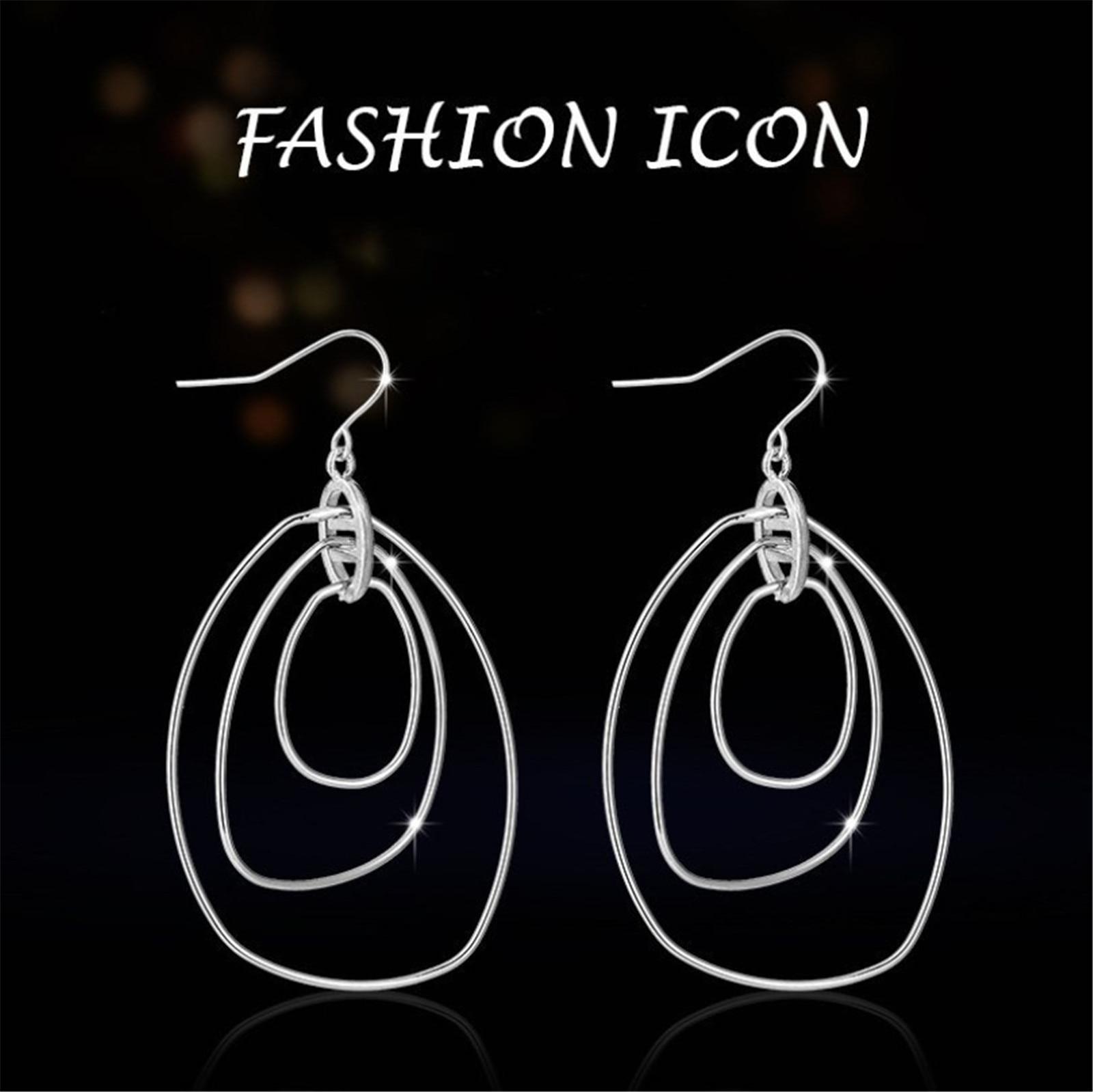 Модные висячие серьги в Корейском стиле, трехслойные полые круглые серьги, массивные круглые Висячие серьги для женщин 2020