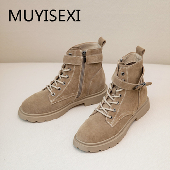 Woman vintage round toe 2.5cm low heels buckle zip natural leather winter streetwear british gorgeous ankle boots AM12 MUYISEXI